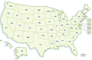 Map of in the United States